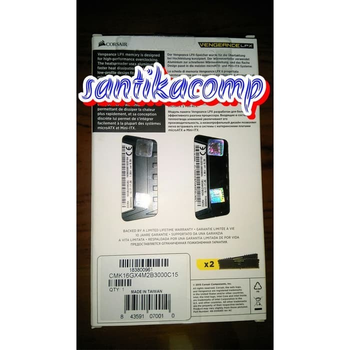 Jual MEMORY CORSAIR DDR4 2X8GB 3000MHZ VENGEANCE LPX CMK16GX4M2B3000C15 -  Kalimantan Jaya Raya | Tokopedia