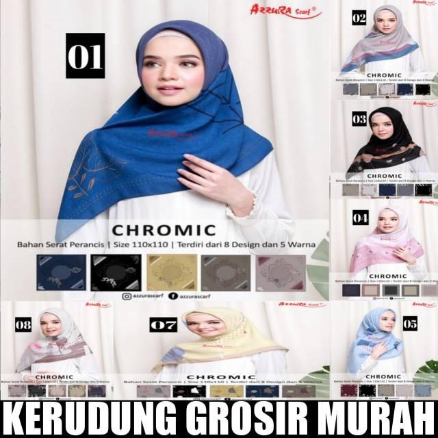 Foto Produk Chromic azzura scarf jilbab chromic azzura segiempat chromic dari tokomearamarva