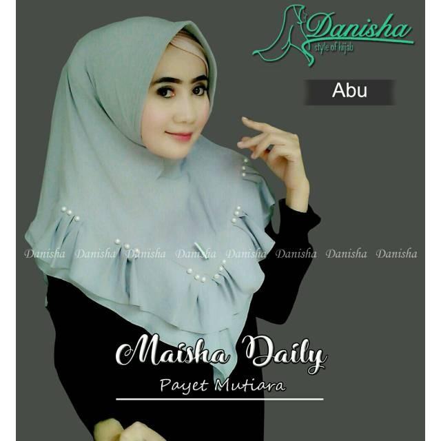 Foto Produk New MAISHA Hijab Rempel Mutiara Tengah Depan Bahan Buble dari tokomearamarva