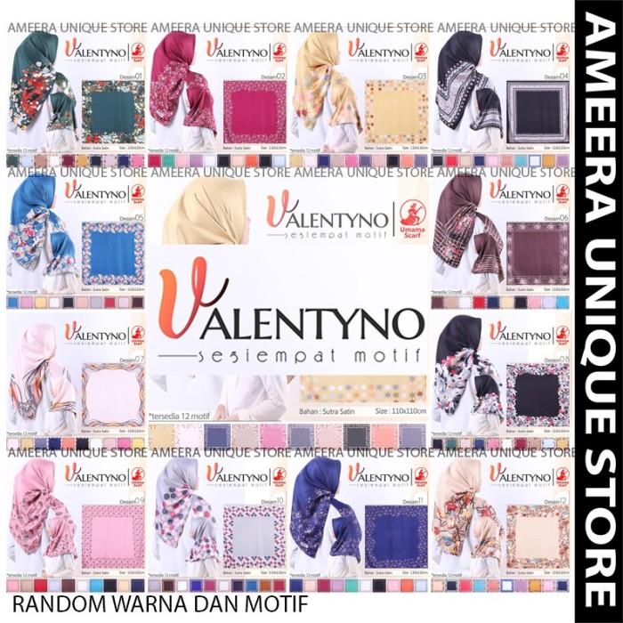 Foto Produk VALENTYNO Umama Satin Hijab SegiEmpat Printed Motif Satin Silk Sutera dari tokomearamarva