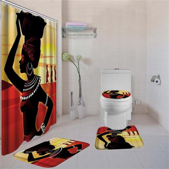 4Pcs//Set Anti-Slip Bathroom Toilet Rug+Lid Toilet Cover+Bath Mat+Shower  G