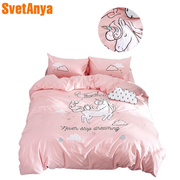 Jual Bedcover Cantik Pink Unicorn Cartoon Bed Cover Applique