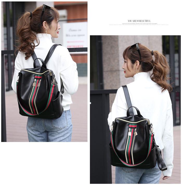 Foto Produk Tas Korea Ransel Wanita New 3 Line Garis (LJY26) - Hitam dari tkm online store
