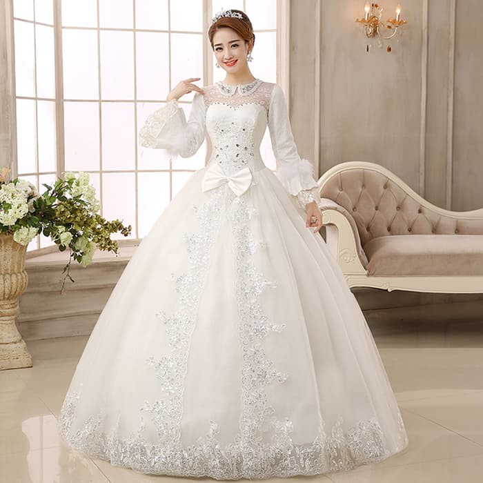 Jual Gaun Pengantin Wedding Dress Import Lengan Panjang Modern Muslimah Kota Surabaya Dandan Goes Store Tokopedia