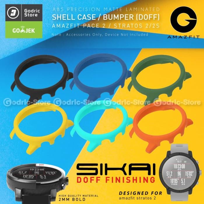 Foto Produk SIKAI Bumper Shell Case Screen Protector Cover Amazfit Pace 2 Stratos - Hitam dari Godric Store