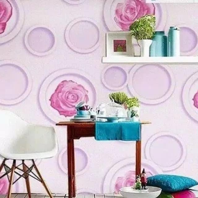 Jual Wallpaper Dinding Murah Bunga Mawar Ungu Pink Keren Cantik