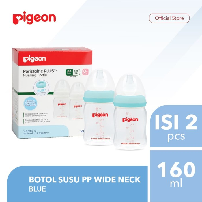 Foto Produk PIGEON Botol Susu PP Wide Neck 160Ml Isi 2 Pcs - Blue dari Tukuse