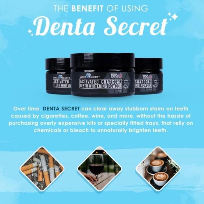 Denta Secret Charcoal Teeth Whitening Powder - Pemutih Gigi Alami