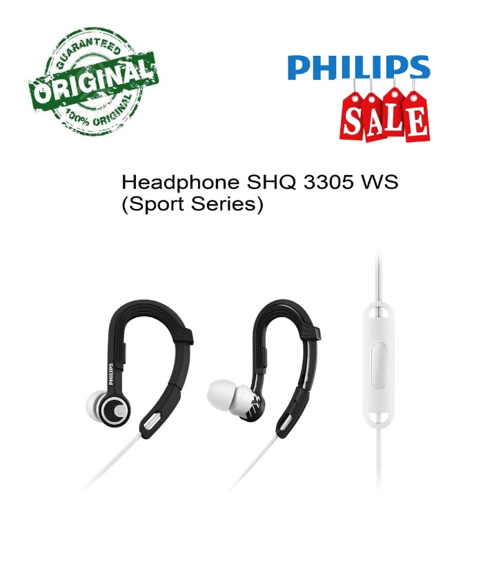 Headphone Sport Series Philips SHQ 3305 WTS Hitam Putih (ORIGINAL)