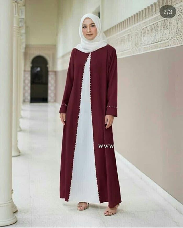 Jual Dress Arabic Pearly Maron Hijab 0138 Sau Baju Gamis Wanita