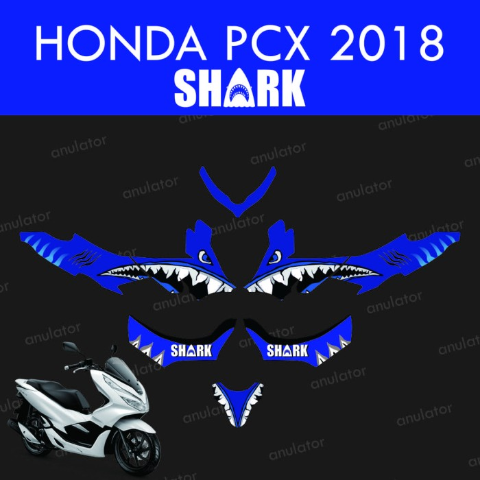 Foto Produk Sticker striping motor stiker Honda PCX 2018 Decal Custom Vinyl Shark dari anulator-custom