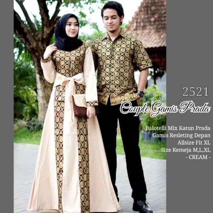 Baju Batik Couple Keluarga Muslim Gamis Syari Pasangan Muslimah Dress