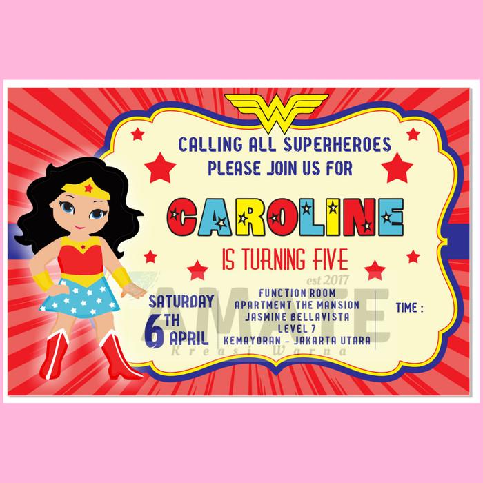Jual Cetak Undangan Ulang Tahun Wonder Woman Invitation Card Kota Bekasi Dianti Factory Tokopedia