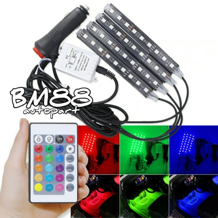 harga Lampu kolong multicolor rgb + remote - footstep dashboard 9 x 4 led Tokopedia.com