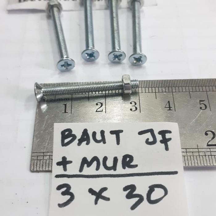 Foto Produk Baut Putih 3x30 + Mur Baut JF3x30 Kepala Obeng M3x30 M3 x 30 dari toko Bangunan Makmur