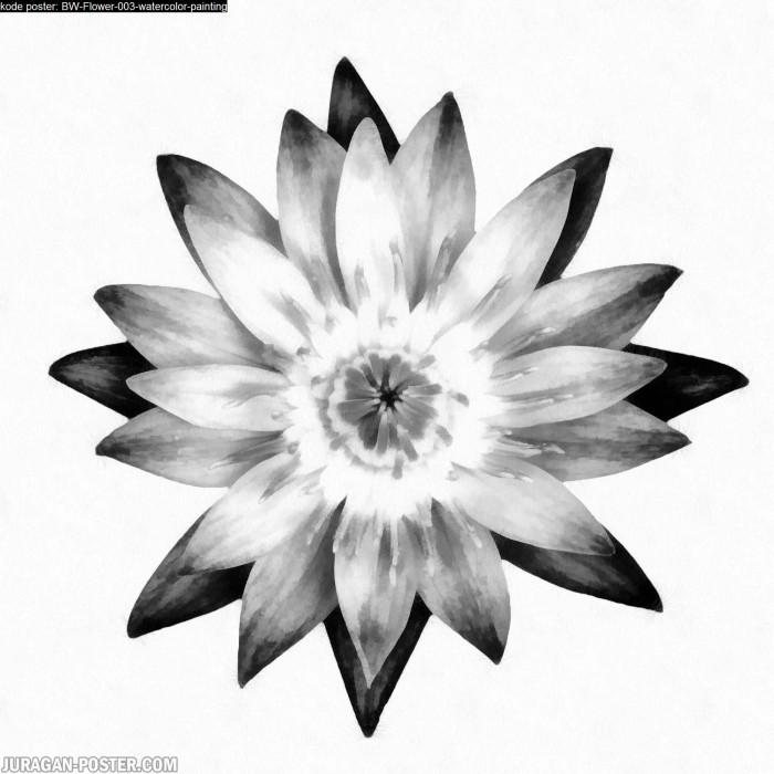 Gambar Lukisan Bunga Hitam Putih