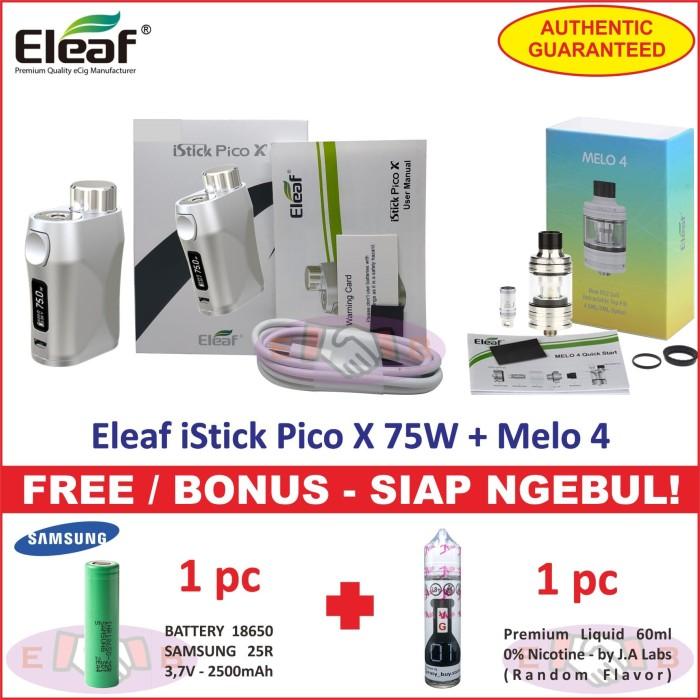 Eleaf iStick Pico X 75W Vaporizer Box MOD + Atomizer Tank Siap Ngebul