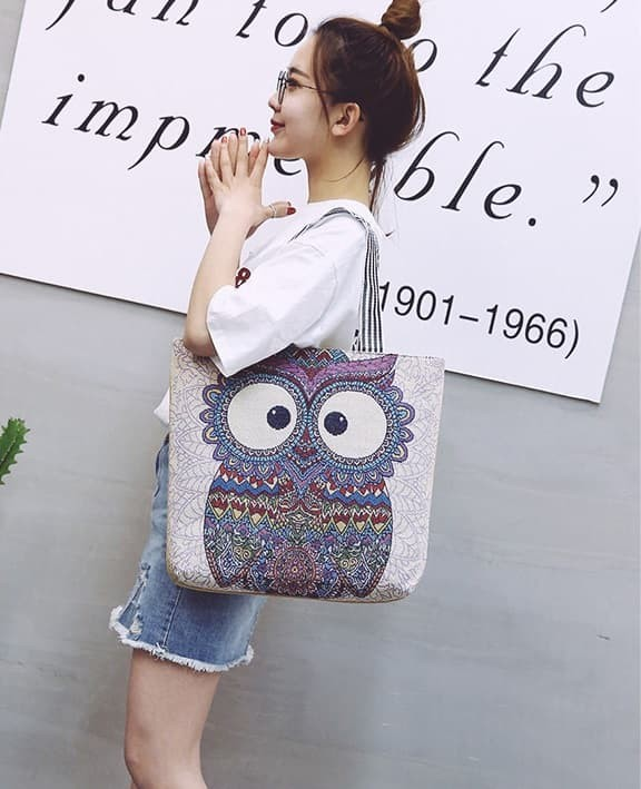 Foto Produk TC47 My OWL Fancy Women Tote Bag/ Tas Selempang Wanita / Tas Motif OWL - my owl lima dari EnnWen Online Store