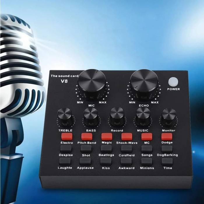harga Audio external v8 usb live soundcard mixer soud card broadcast effect Tokopedia.com