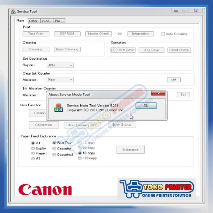 Canon Service Tool V5204