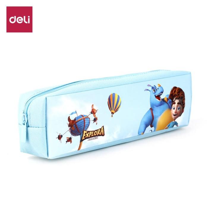 harga Deli ez86002 explora pencil pouch 2c / tempat pensil 2 kantong - biru Tokopedia.com