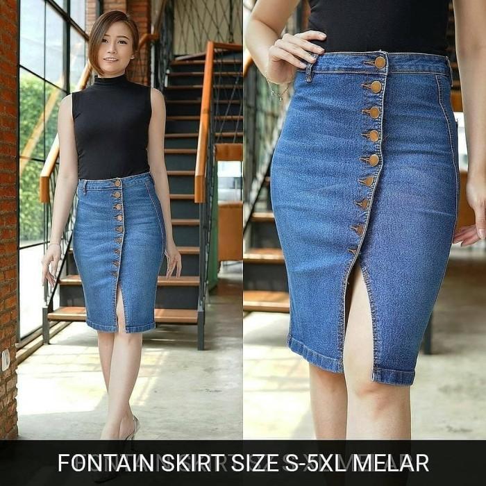 Foto Produk Rok Jeans Wanita Fontain Dark Skirt Big Size Skinny Stretch Murah dari Jio Jeans