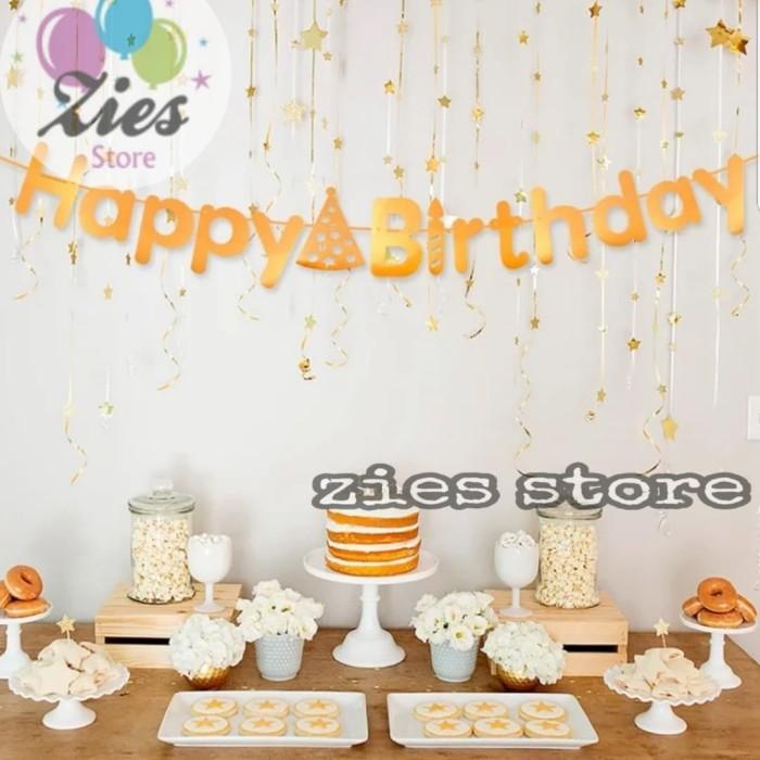 Foto Produk Banner happy birthday / banner ulang tahun motif topi gold dari Zies store