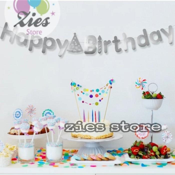 Foto Produk Banner happy birthday / banner ulang tahun motif topi SILVER dari Zies store