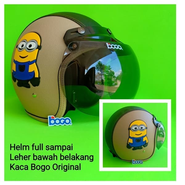 harga Helm bogo retro kulit dewasa kaca bogo original motif minion tpr cream Tokopedia.com
