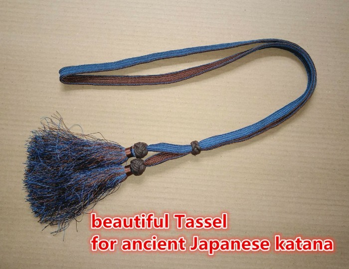 WWII Japanese Officer/'s Sword Blue/&Brown Tassel Samurai Sword Gunto Katana A++++