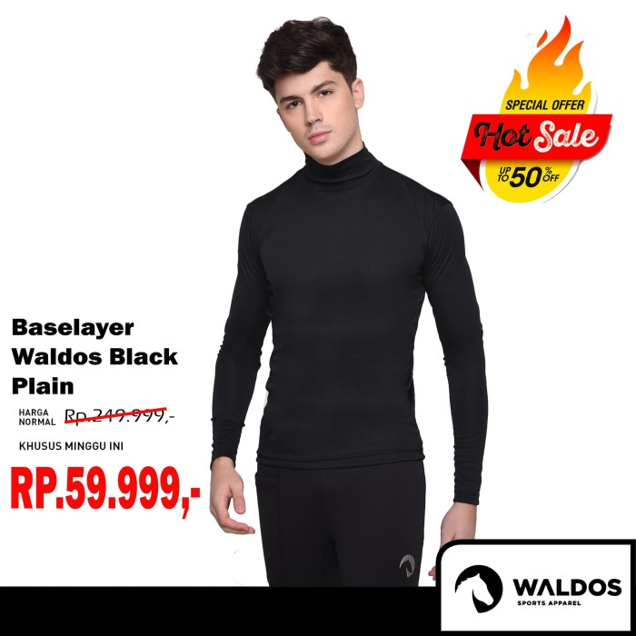 Foto Produk PROMO !! Baselayer Training Waldos Black Plain dari Waldos Sports Apparel