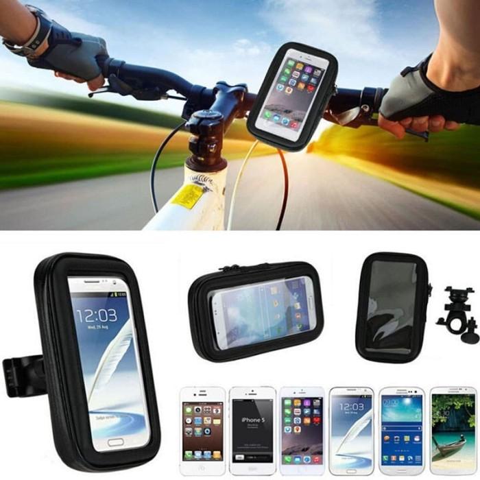 harga Phone holder & gps anti air sepeda dan motor universal 5.5 inch hitam Tokopedia.com