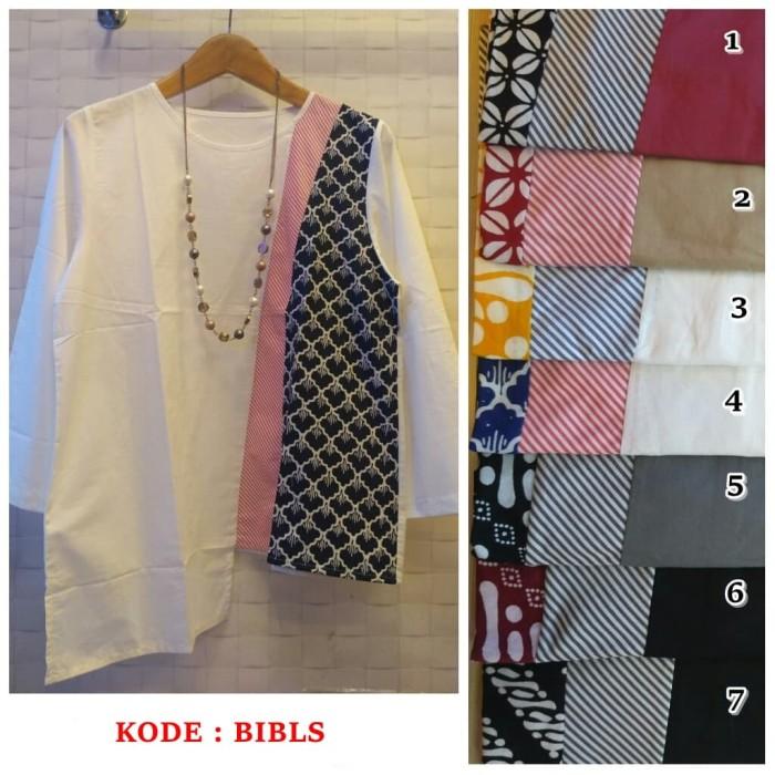 harga Atasan blus polos kombinasi batik lengan panjang bahan katun bibls Tokopedia.com