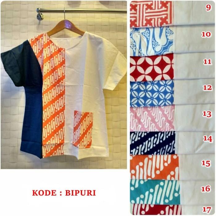 harga Blus batik wanita kombinasi lengan pendek bipuri Tokopedia.com