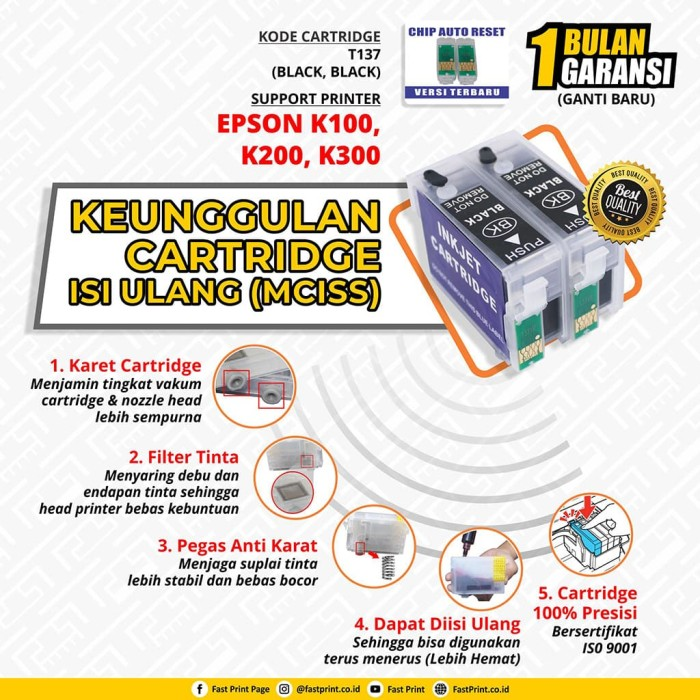 harga Fast print cartridge mciss epson k100 k200 k300 plus tinta Tokopedia.com