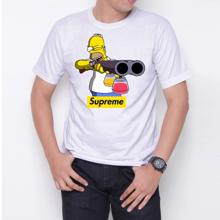 Foto Produk Homer Simpson W6471 Kaos Distro Custome Putih Ukuran M,L,XL dari Case Republica