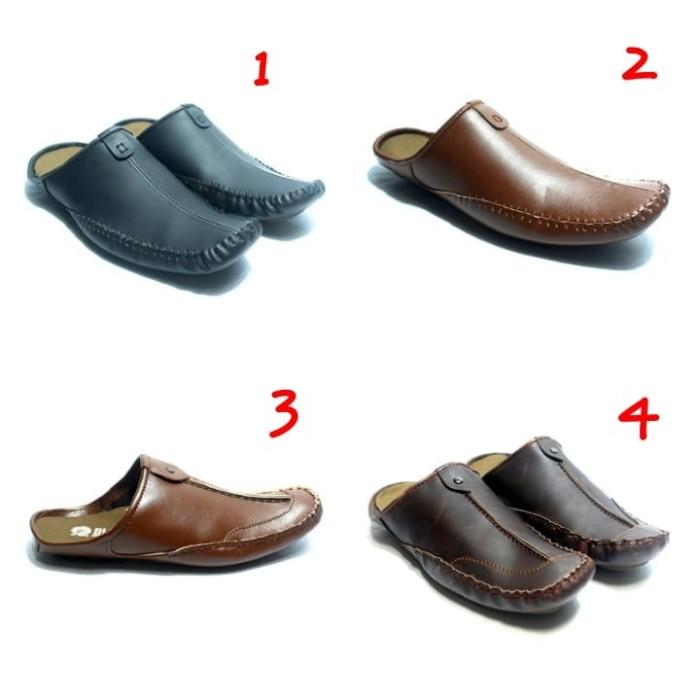 harga Sepatu sandal pria casual bustong black master sandal flat kulit asli Tokopedia.com