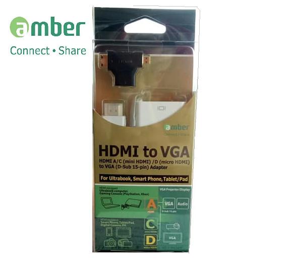 Foto Produk Amber HM-VGA2 Adapter HDMI To VGA + Mini HDMI And Micro HDMI dari Enter Komputer Official