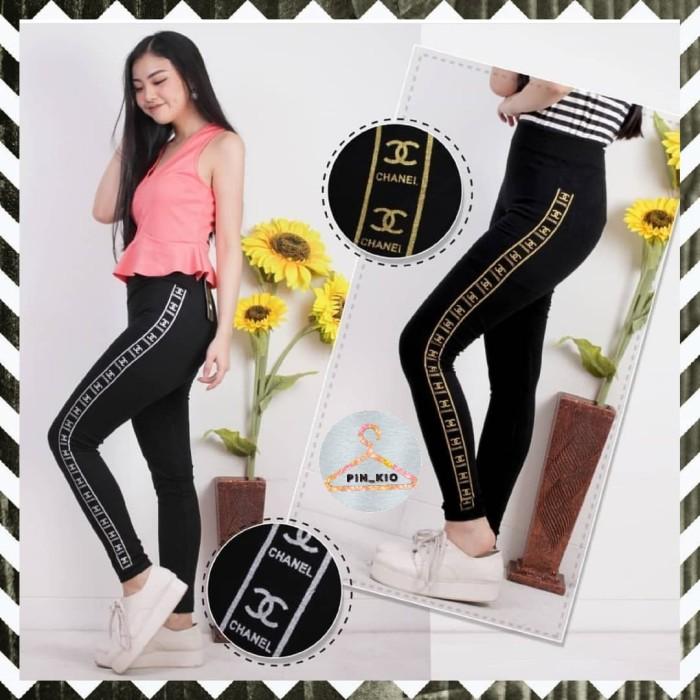 Jual Legging Import List Stripe Chanel Celana Sport Wanita Murah Silver Jakarta Barat Pin Kio Tokopedia