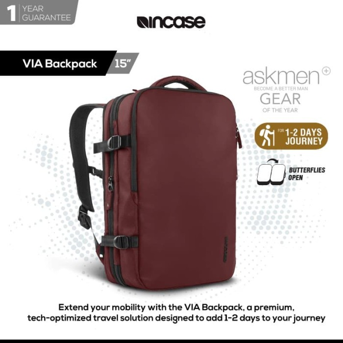 Incase via backpack macbook pro 15  - deep red (intr30058-drd)