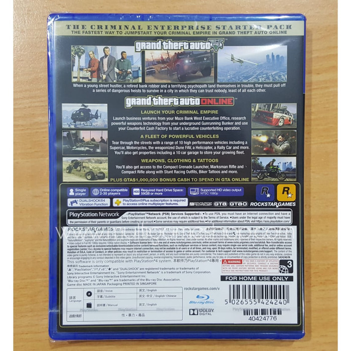 Jual PS4 Grand Theft Auto V / GTA V Premium Online Edition Reg 3 Game -  Jakarta Utara - Multi Game Indonesia - OS | Tokopedia