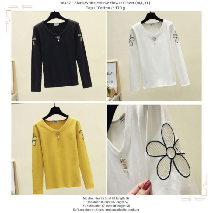 Foto Produk 36437 Flower Clover Top / Blouse Hitam Putih Kuning dari XineShop