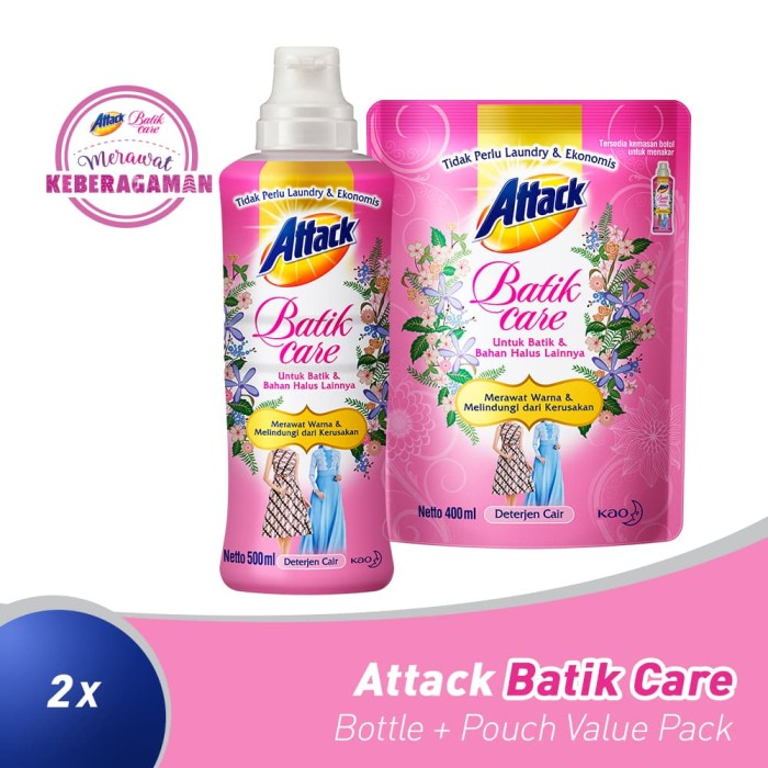 Foto Produk Attack Batik Bottle + Pouch Value Pack dari KAO Official Store