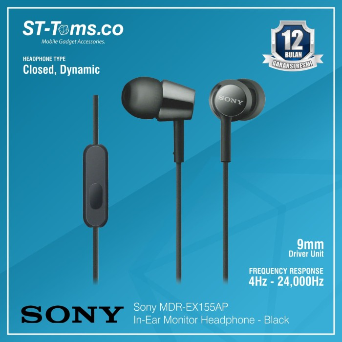 harga Sony mdr-ex155ap / ex 155ap in-ear monitor headphone - black Tokopedia.com