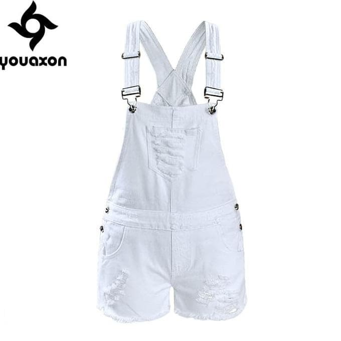 82a138ace New 2017 Youaxon Women`s Ripped Denim Shorts Overall Jeans For Woman