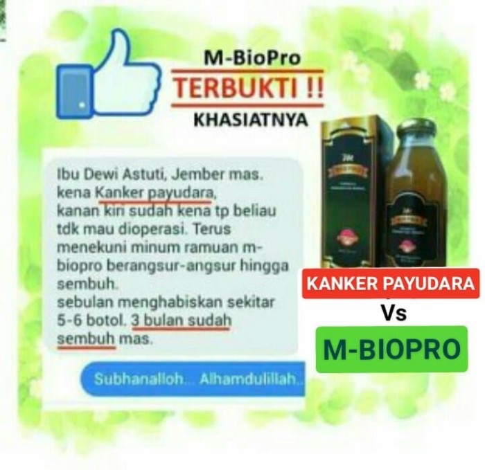 Foto Produk M BIOPRO Obat Kanker Tumor-Hati-Otak-Stadium 4 - Rahim-Serviks Mbiopro dari Tasik Store