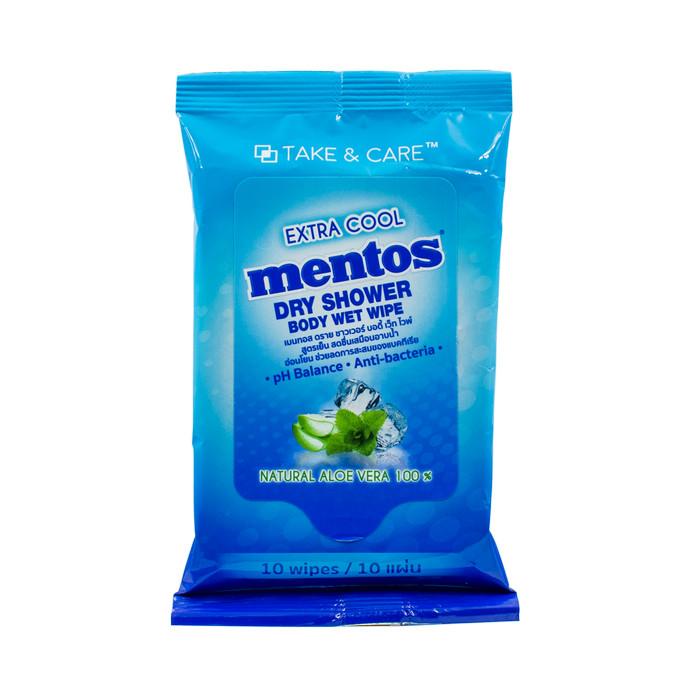 Foto Produk Mentos Dry Shower Body Wet Wipe Extra Cool (10 Sheet) dari Chupa Chups Official