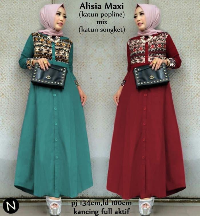 Jual Alisia Maxi Dress Muslim Murah Baju Gamis Wanita Variasi Motif Batik Jakarta Utara Davina Store Tokopedia
