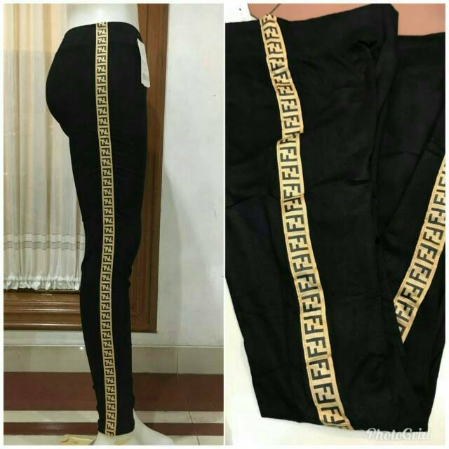 Jual Ready Hitam Saja Celana Legging List Fendi Stretch Bahan Kaos Korea Ad Jakarta Barat Titi Shop1 Tokopedia