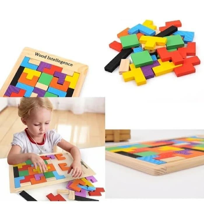 Foto Produk Mainan edukasi puzzle block Tetris wood Inteligence/puzzle kayu tetris dari AUTO KID II